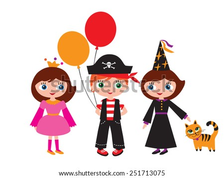 Children in carnival costumes. Princess, pirate and a witch with a cat. Halloween, Christmas, New Year, birthday, holiday, party. Vector illustration. - stock vector