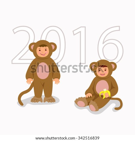Children in costume monkeys. Isolated characters boy and girl in themed costumes for the New Year and Christmas. - stock vector