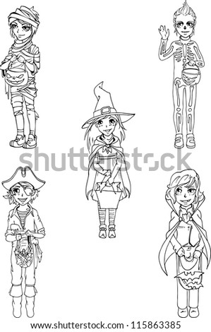 Children in costumes for Halloween day. Sketch - stock vector