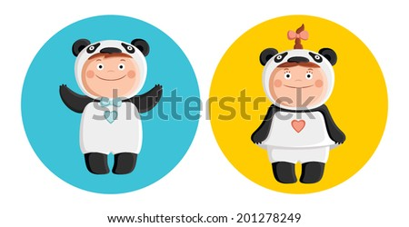 Children in costumes pandas - stock vector