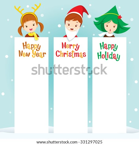 Children In New Year Costume With Banner, Happy New Year, Merry Christmas, Xmas, Objects, Festive, Celebrations - stock vector