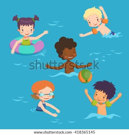 children in pool. vector illustration with swimming children - stock vector