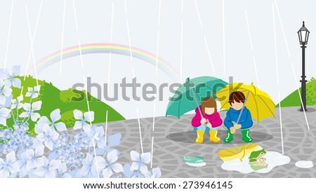 Children in Rainy day scenery-EPS10 - stock vector