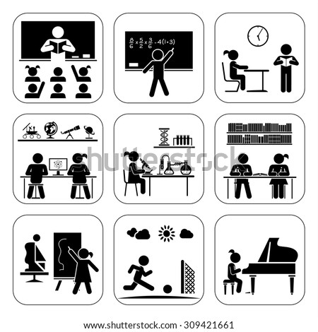 Children in school attending classes.  Doing maths, chemistry, art, playing piano, learning, doing sports. Vector illustration. Back to school. Pictogram icon set. School days.  - stock vector