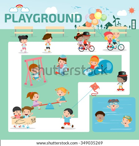children in the playground infographic elements flat design illustration, kids at playground, kids time. isolated on white background, Vector Illustration. - stock vector