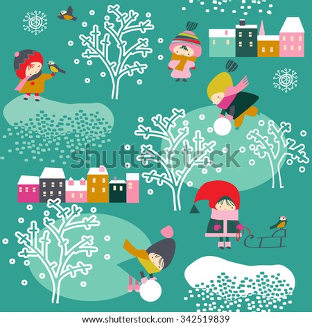 children in winter - stock vector