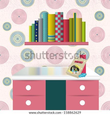 Children interior. Vector illustration. Colofrul background. - stock vector
