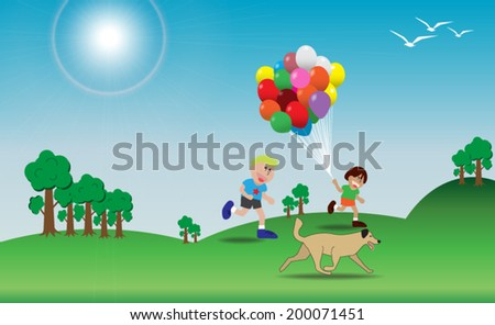 Children is playing with colorful balloons on the hill ; Dog is running. - stock vector