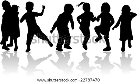 Children , kids - black silhouettes, vector work