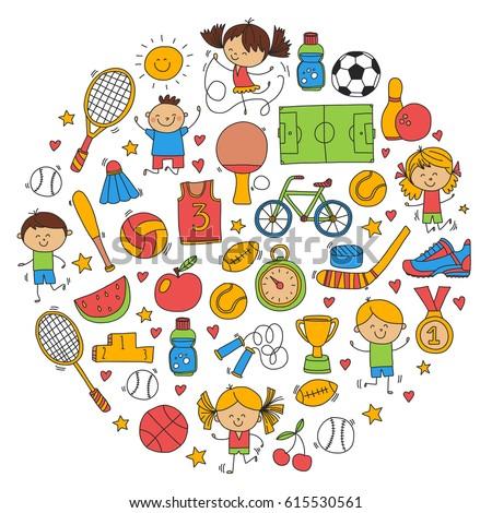 children kids fitness sport vector icons stock vector