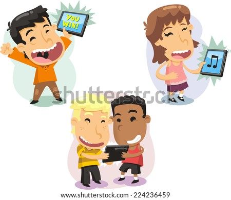 Children Kids playing with computer tablets Technology, vector illustration cartoon. - stock vector