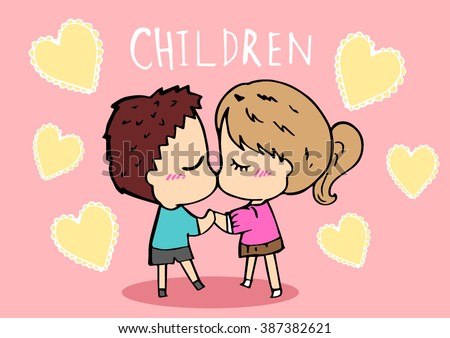 Children kissing cartoon vector.