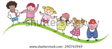 children lined up - stock vector
