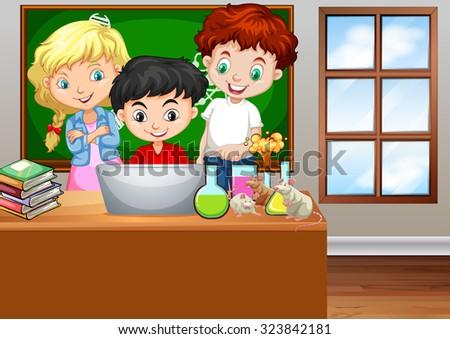 Children looking at computer in classroom illustration - stock vector