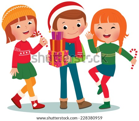 Children make merry at Christmas party/Children Christmas Party/Illustration of Kids at a Christmas party - stock vector