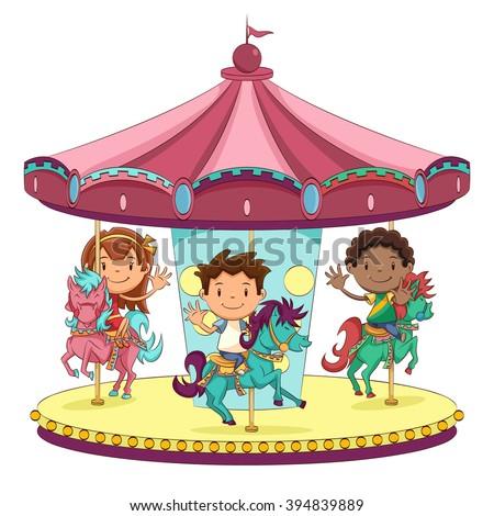 Children merry go round, vector illustration   - stock vector