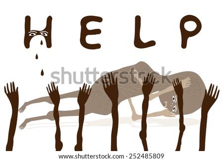 Children need your help-Help African poor Children-Vector illustration   - stock vector