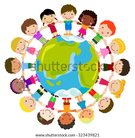 children of different nationalities around the globe - stock vector