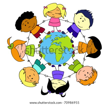 Children of different nationalities holding hands around the Earth - stock vector