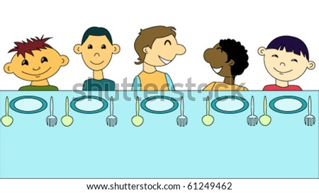 Children of different races sitting together at the table - stock vector