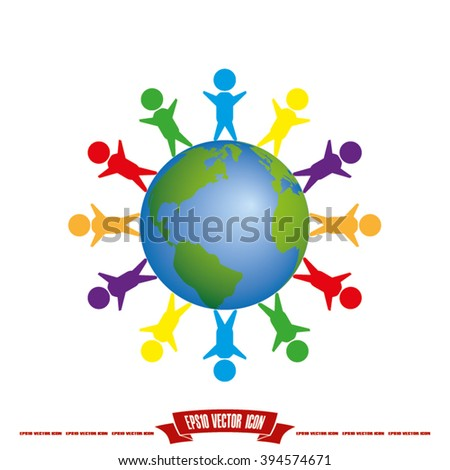 children of earth icon vector illustration eps10. - stock vector