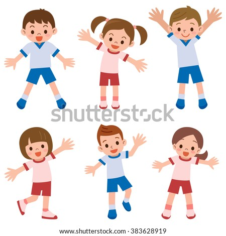 Children of exercise clothes - stock vector