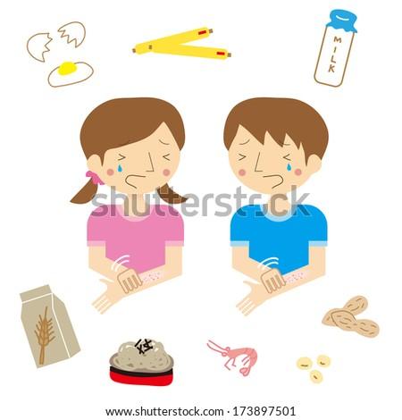 Children of men and women who developed dermatitis in food allergy - stock vector