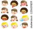 Children of various facial expressions - stock photo