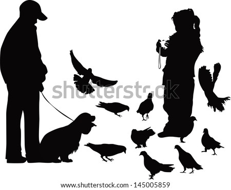 children on a walk with the dog and bird watching - stock vector