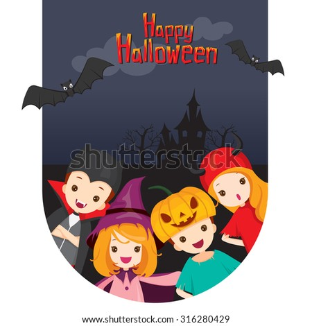 Children on Castle Background, Holiday, Culture, Disguise, Ornate, Fantasy, Night Party - stock vector