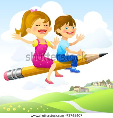 Children on Flying-Pencil Ride - stock vector