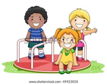 Children on Merry Go Round in the Park - Vector - stock vector