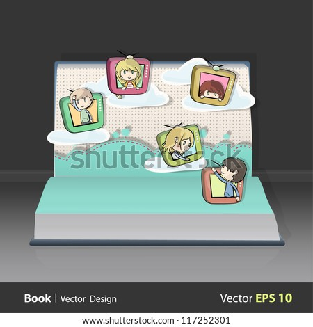 Children on television flying in a garden inside a open Pop-up book. Vector design. - stock vector
