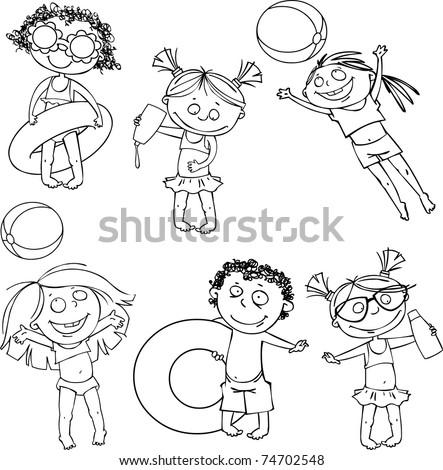 Children on the beach, a vector set - stock vector