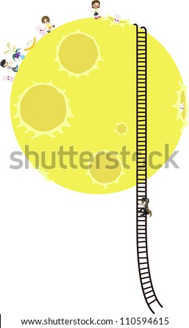 Children on the moon - stock vector