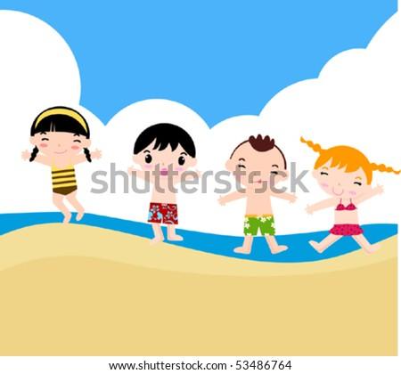 Children on the sunny beach. - stock vector
