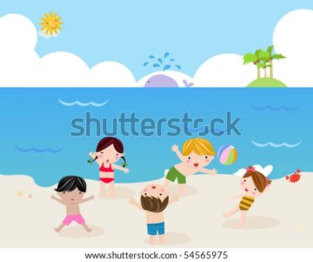 Children on the sunny beach - stock vector