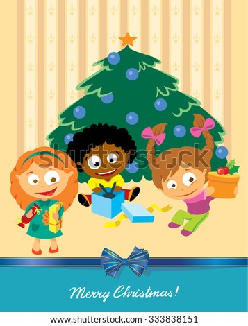 Children open a gift under the Christmas tree. Christmas card - stock vector
