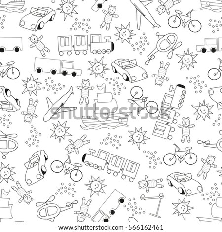 Children outline seamless pattern for boys on white background . Pattern can be used for fabric, printing on baby bedding, wallpaper, backpacks