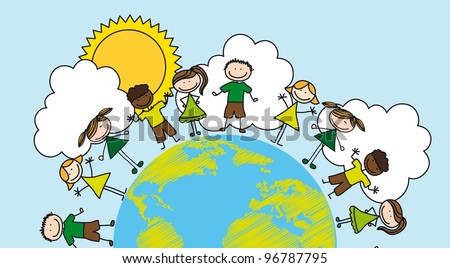 children over planet drawing over landscape. vector
