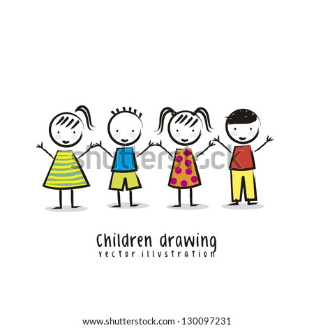 children over white background, drawing. vector - stock vector