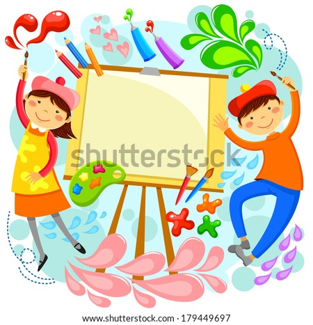 children painting around a blank canvas with space for text