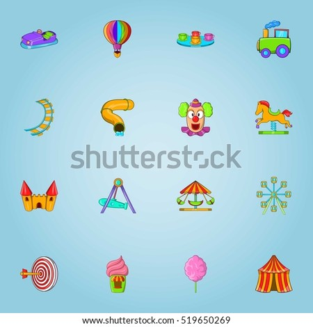 Children park icons set. Cartoon illustration of 16 children park vector icons for web