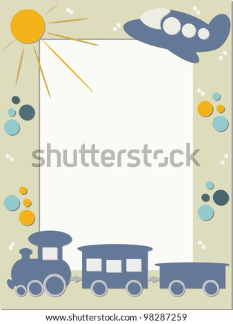 Children photo frame with trains - stock vector
