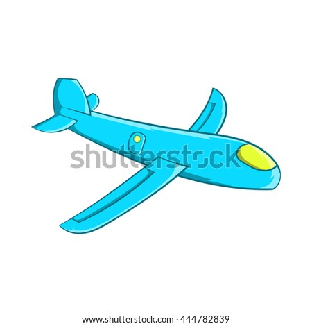 Children plane icon in cartoon style isolated on white background. Games and toys symbol