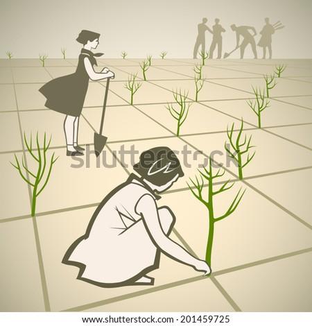 Children planting trees in spring retro vector illustration - stock vector