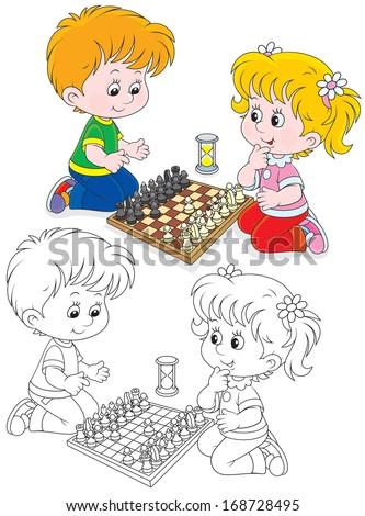 Children play chess - stock vector