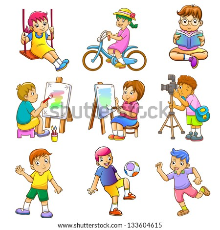Children play. EPS10 File - simple Gradients, no Effects, no mesh, no Transparencies.All in separate layers for easy editing. - stock vector