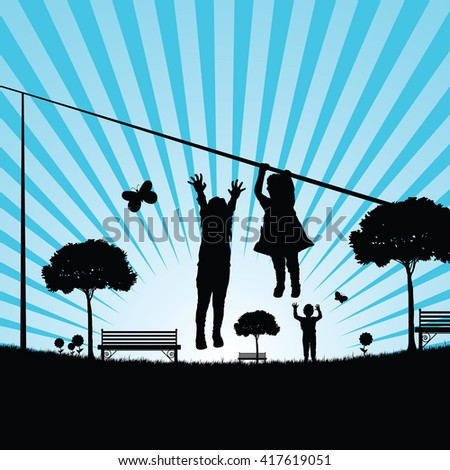children play in nature silhouette illustration in colorful - stock vector