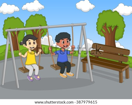 Children play swing at the park cartoon vector illustration